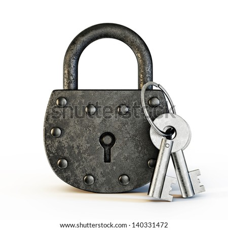 old lock isolated on a white background - stock photo