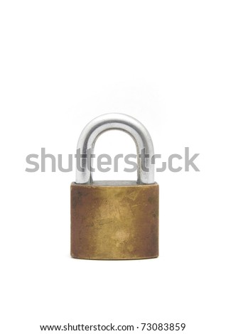 old Lock isolated on white - stock photo