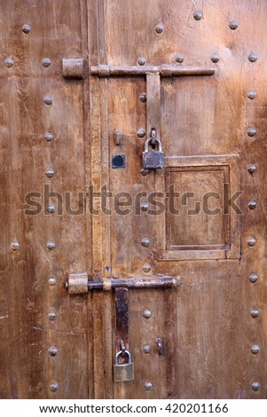 Old lock on the door house