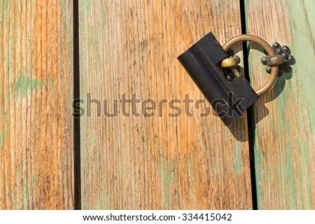 Old lock on the door. In side Gyeongbokgung Palace in Seoul, South Korea. - stock photo