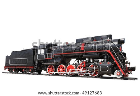 Old locomotive isolated. Real one, note toy or model. - stock photo