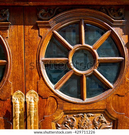 old london door in england and wood ancien abstract hinged  - stock photo