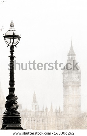 Old London  with Big Ben, black and white, vintage photo. - stock photo