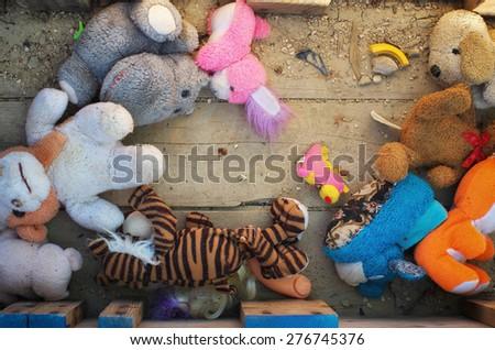 Old lose toys. Conceptual scene. - stock photo