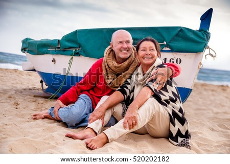 old love couples relaxing on the coastline