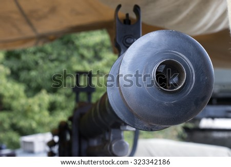 Old Machine Gun isolated on position