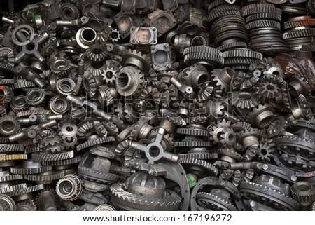 Old machine parts in second hand machinery shop in Bangkok - stock photo