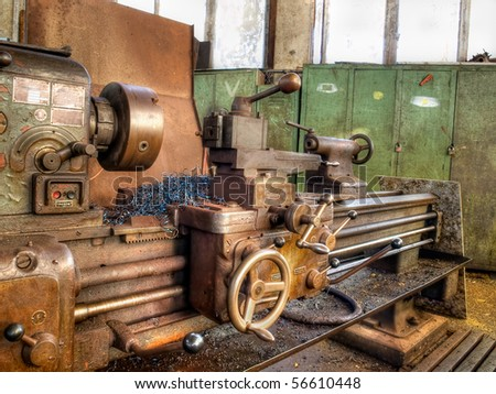Old machinery in a factory from the mid-20th c. - stock photo
