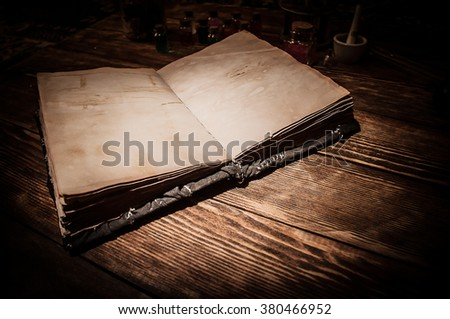 old magic book - stock photo