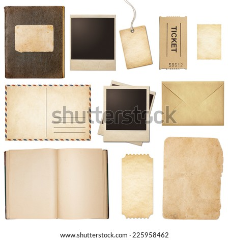 Old mail, paper, book, polaroid photo frames, stamp isolated collection - stock photo