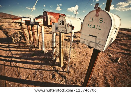 Old Mailboxes in west United States - stock photo