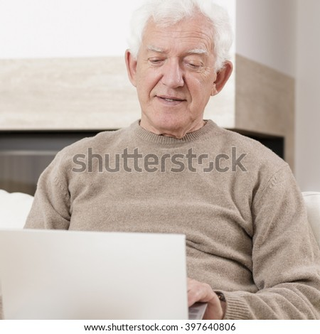 Old man and laptop