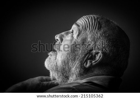 old man choking - stock photo