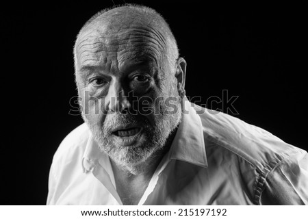 old man feeling sick - stock photo