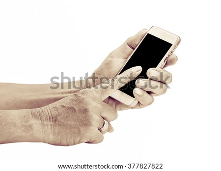 old man hand holding phone isolated on white background - stock photo
