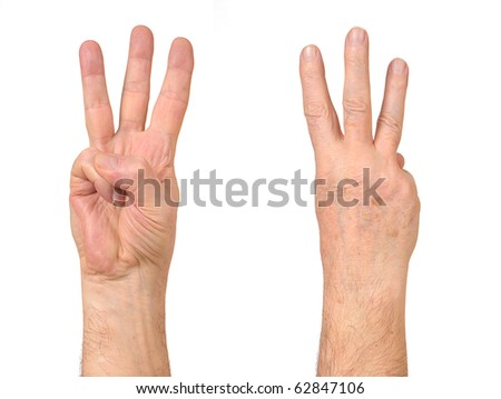 Old Man hands counting number three