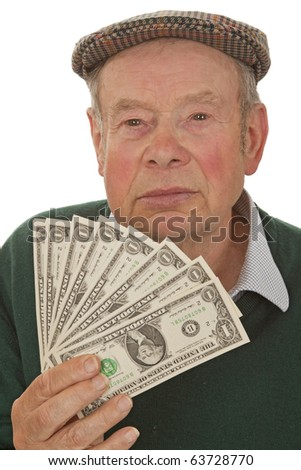 Old man holding dollars and laughing - isolated on white - stock photo