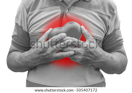 Old man holding heart because of heart infarction , isolated in white