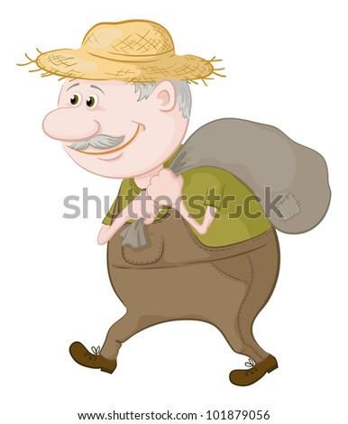 Old man in a straw hat carries a canvas bag - stock photo