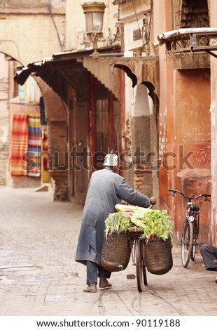 Old man in Marrakesh, Morocco, Africa in the old Medina - stock photo