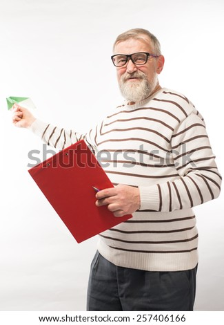 old man launches a paper airplane