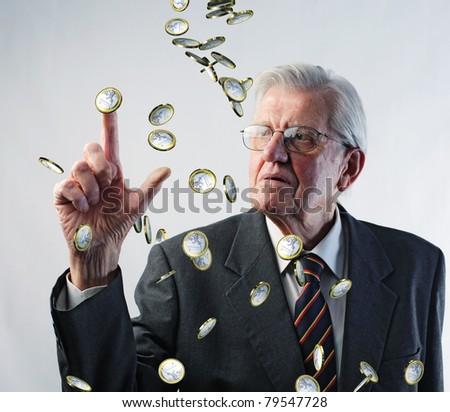 old man look euro coin rain - stock photo