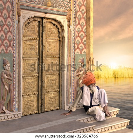 Old man near a traditional indian door in the sunrise.  - stock photo