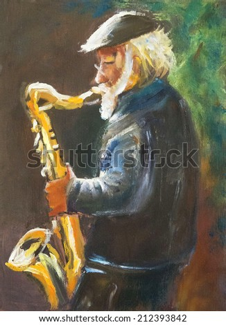 old man play on sax. saxophone. original oil painting on wood - stock photo