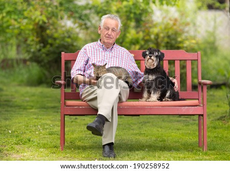 Old man resting on bench and cuddling dog and cat - stock photo