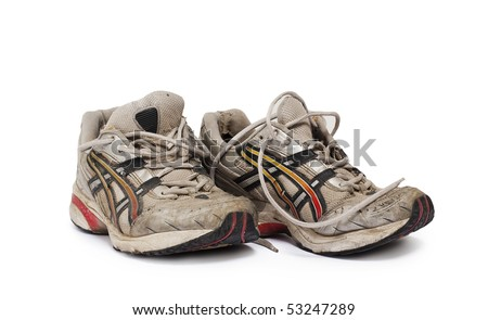 old man's jogging shoes isolated on white - stock photo