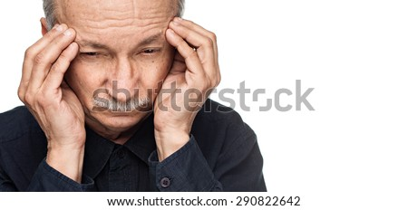 Old man suffering from a headache isolated on white background with copy-space - stock photo