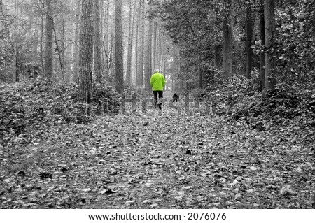 Old man walking his dog in the forest - stock photo