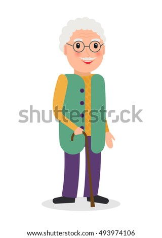 vector illustration happy grandma selfie on stock vector 447919825 shutters. Black Bedroom Furniture Sets. Home Design Ideas
