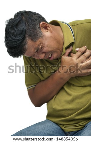 Old man with a heart attack - stock photo