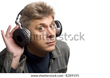 old man with headphones on white background