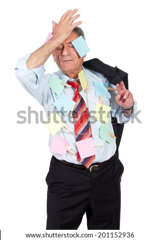 old man with post its - stock photo