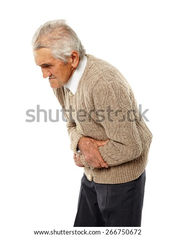Old man with severe abdominal pain isolated on white - stock photo