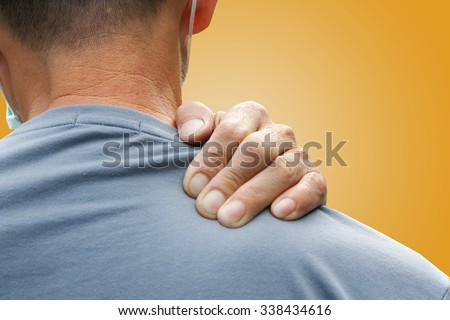 Old man with shoulder pain - stock photo