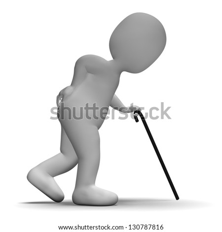 Old Man With Walking Stick Shows Aged 3d Character