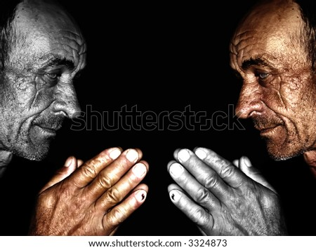 Old man ,wrinkled and sun burned skin,face to face - stock photo