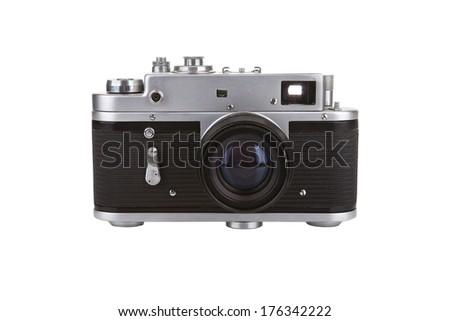 Old manual camera on white background - stock photo