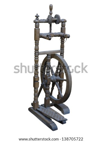 Old manual wooden spinning-wheel distaff isolated on white background