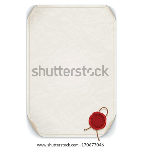 Old Manuscript Scroll with Red Wax Seal. Isolated on White. Ready for Your Text and Design. - stock photo