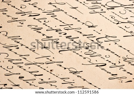 Old manuscript with vintage handwriting. Grungy paper background - stock photo