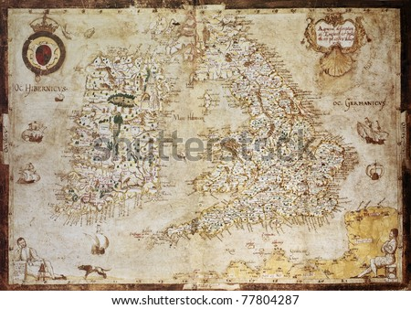 Old map of British Islands. Created by Laurence Nowell, published in England, 1564 - stock photo