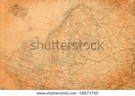 Old map of Europe,1895. - stock photo
