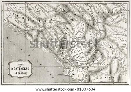 Old map of Montenegro. Created by Lejean, published on Le Tour du Monde, Paris, 1860 - stock photo