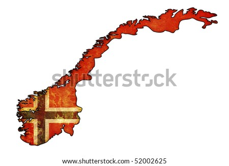 old map of norway with flag on country territory - stock photo