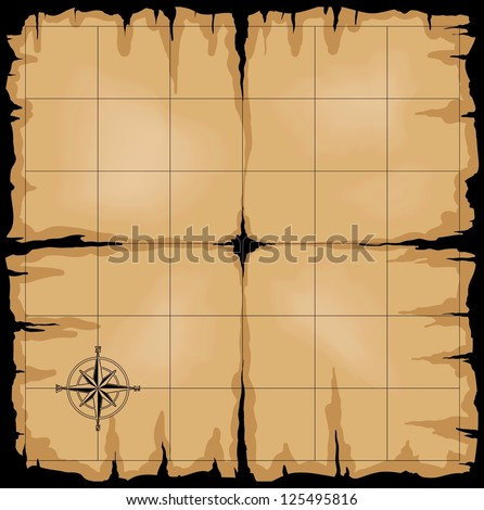 Old map with compass rose. Raster version of the illustration. - stock photo