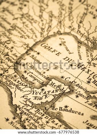 old map yucatan peninsula and gulf of mexico